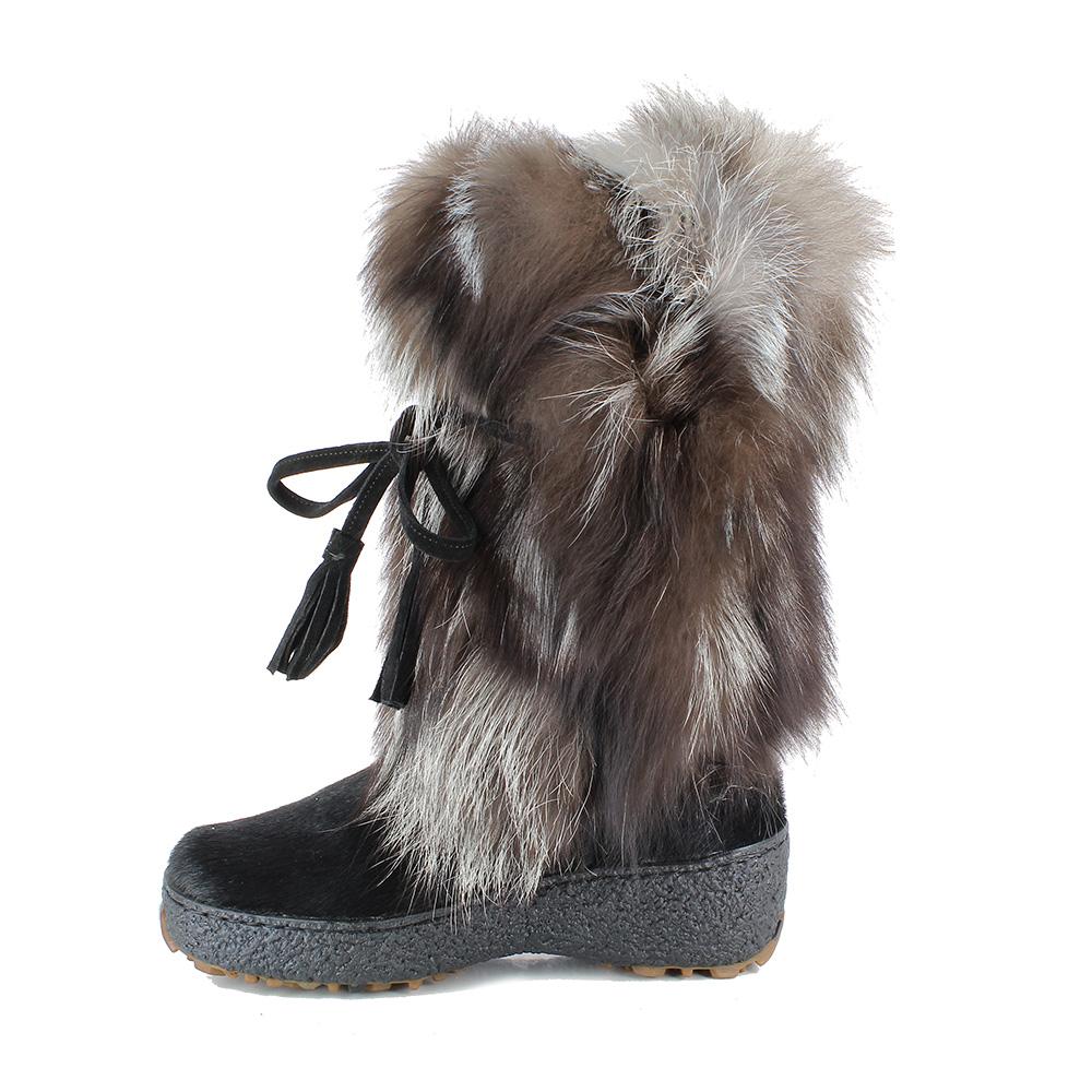 05 damen winterschuhe winterstiefel fellstiefel echtes fell8420 vala damen schwarz kojote. Black Bedroom Furniture Sets. Home Design Ideas